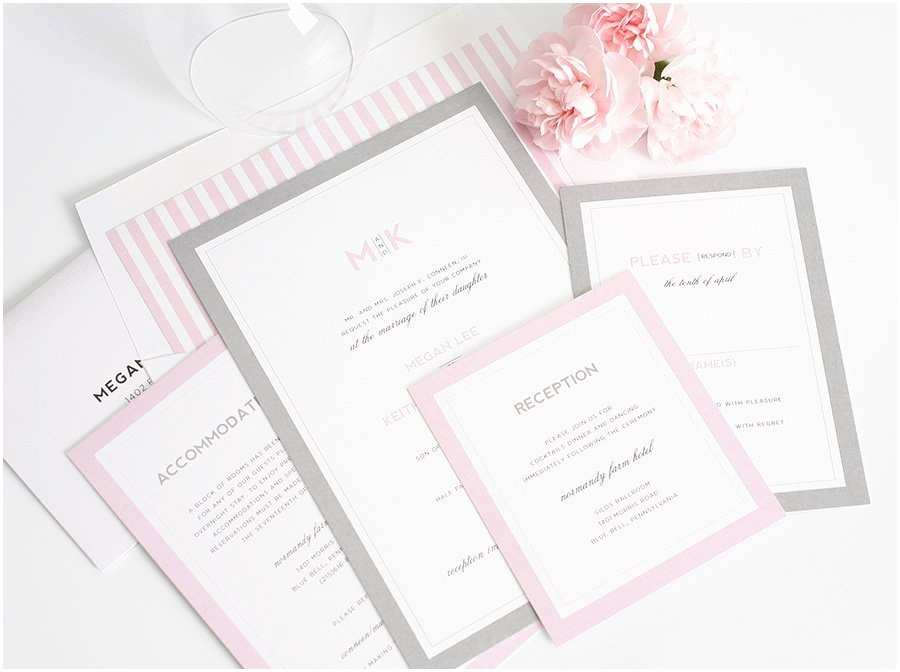 Pink and Gray Wedding Invitations Gorgeous Wedding Invitations with Pink and Gray Borders