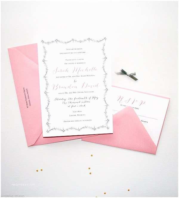 Pink and Gray Wedding Invitations Gray and Pink Vintage Wedding Invitations