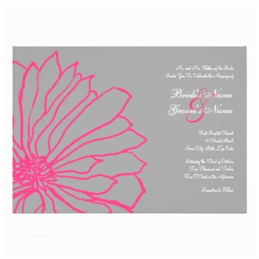 Pink and Gray Wedding Invitations Hot Pink and Gray Floral Wedding Invitation