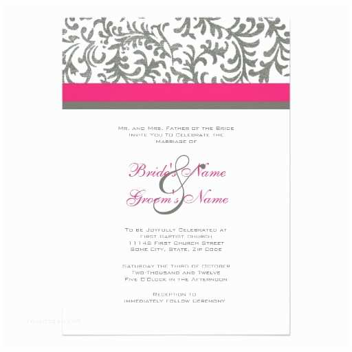 Pink and Gray Wedding Invitations Hot Pink and Gray Wedding Invitation