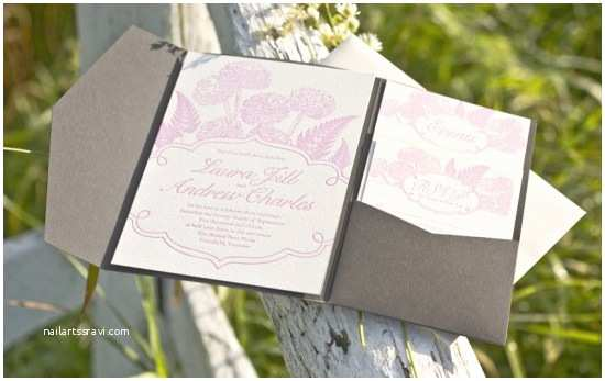 laura andrews pink and gray floral wedding invitations
