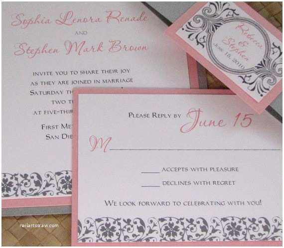 Pink and Gray Wedding Invitations Merry Brides — Pretty In Pink
