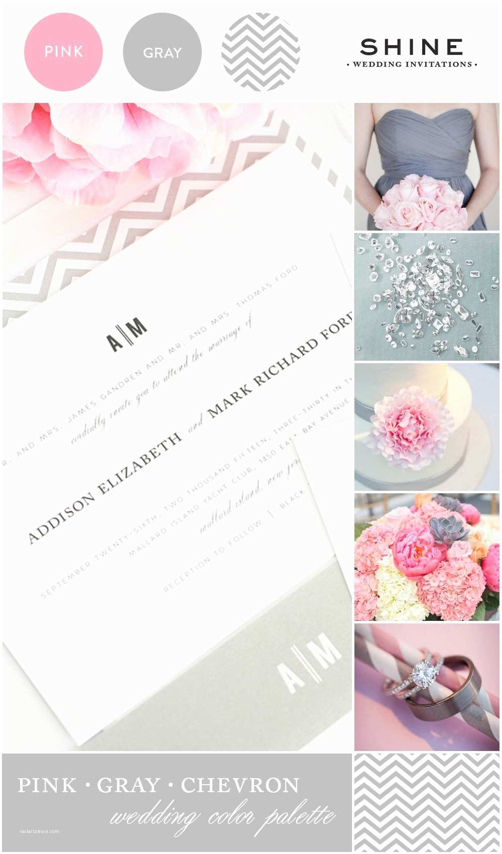 Pink and Gray Wedding Invitations Pink and Gray Chevron Wedding Inspiration – Wedding