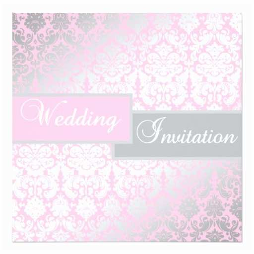 Pink and Gray Wedding Invitations Pink and Gray Damask Wedding Invitation