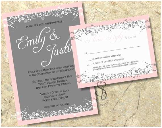 Pink and Gray Wedding Invitations Pink and Gray Floral Wedding Invitation and Rsvp by