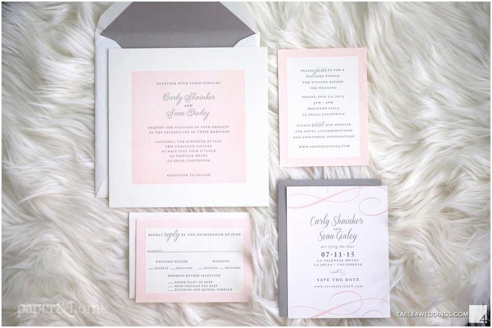Pink and Gray Wedding Invitations Pink and Gray Letterpress Wedding Invitations Paper and Home