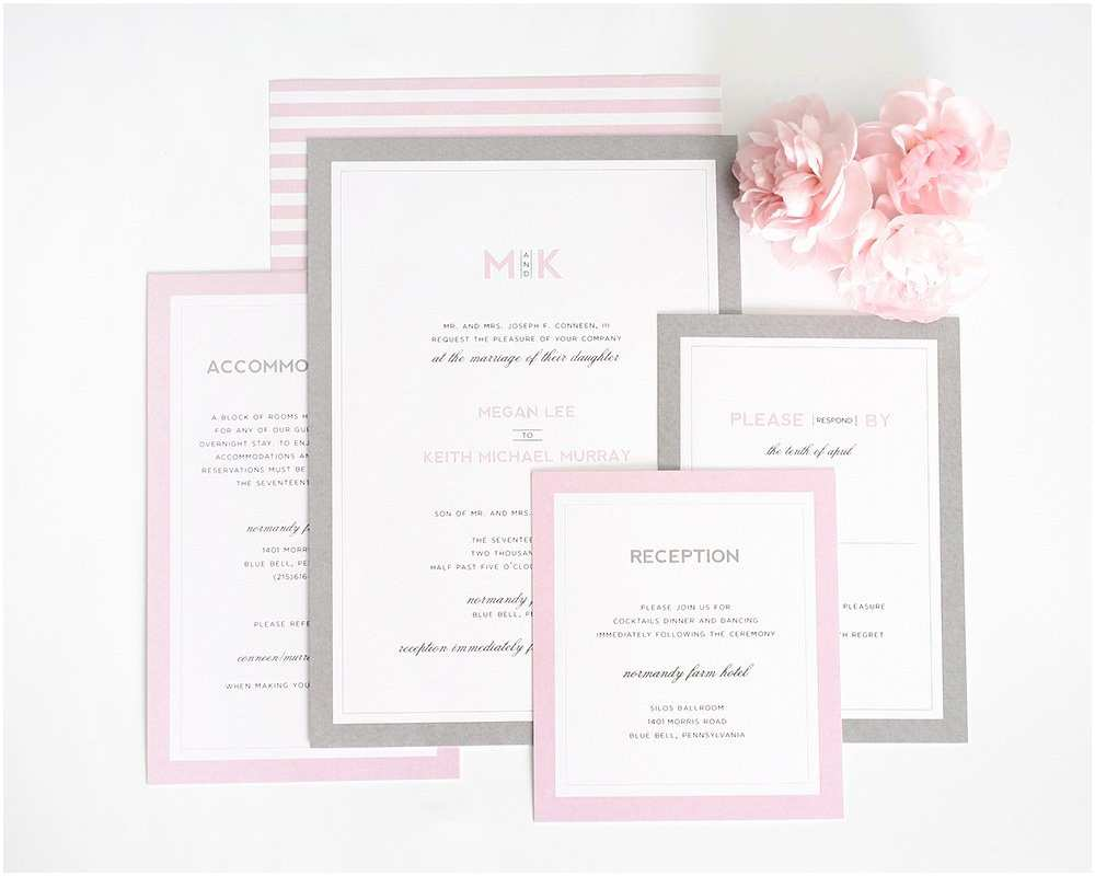 Pink and Gray Wedding Invitations Pink and Gray Wedding Invitations Wedding Invitations by