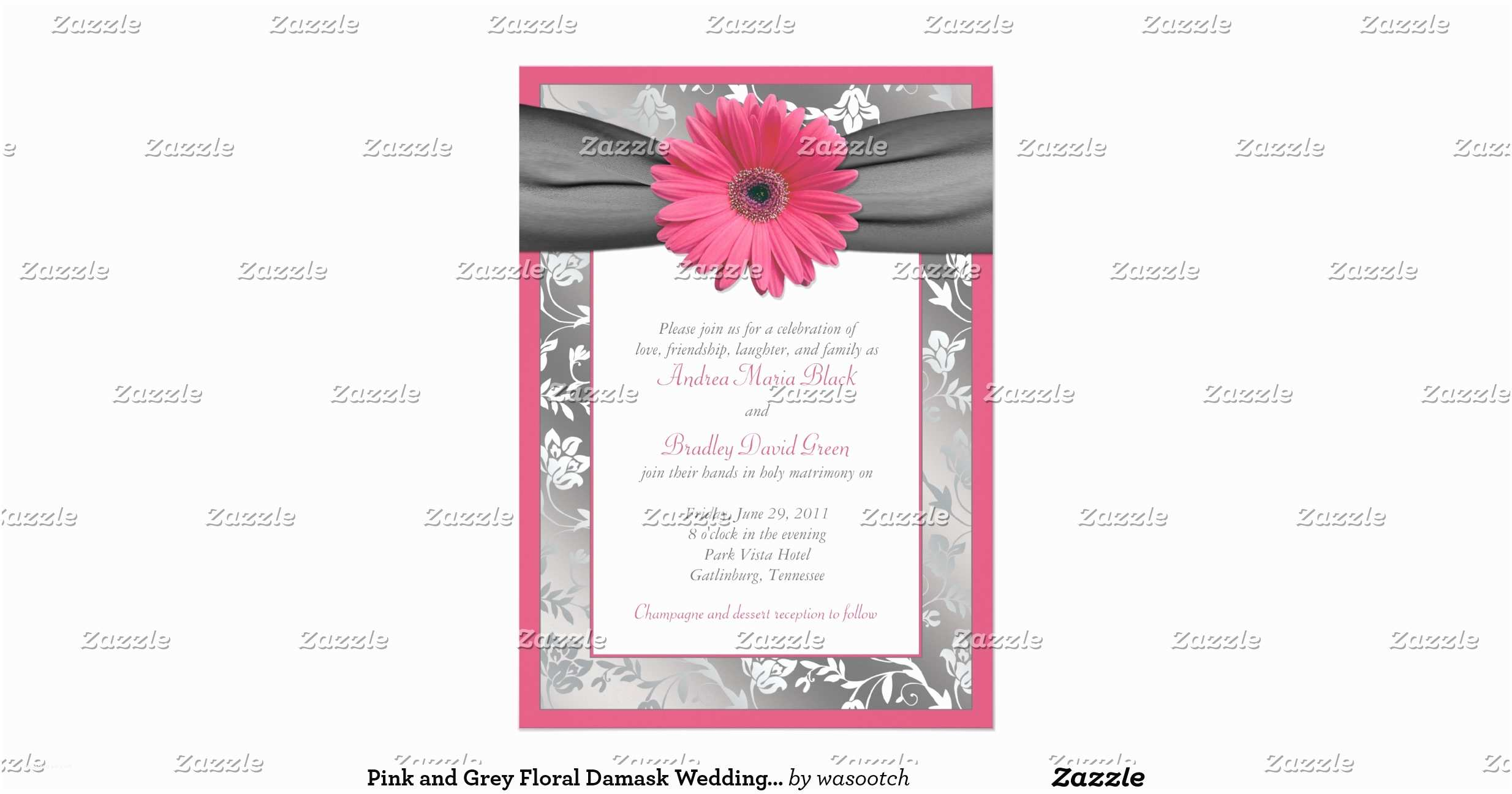 Pink and Gray Wedding Invitations Pink and Grey Floral Damask Wedding Invitation