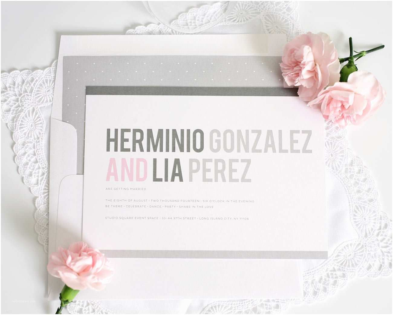 Pink and Gray Wedding Invitations Pink and Grey Modern Wedding Invitations – Wedding Invitations