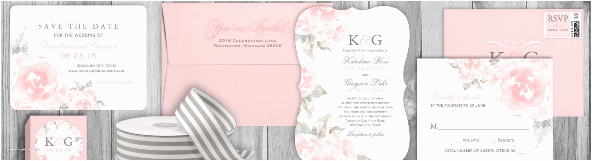 Pink and Gray Wedding Invitations Pink Rose Wedding Invitations