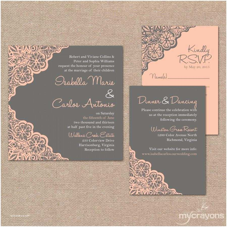 Pink and Gray Wedding Invitations Printable Wedding Invitation Set Rustic Lace Wedding