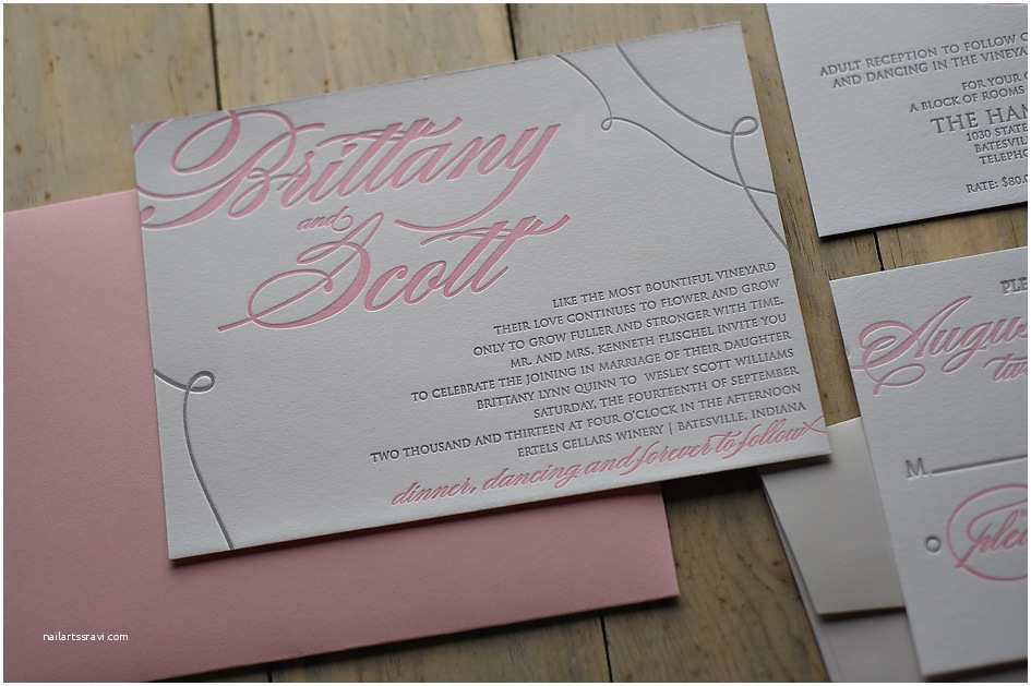 Pink and Gray Wedding Invitations Real Wedding Brittany and Scott
