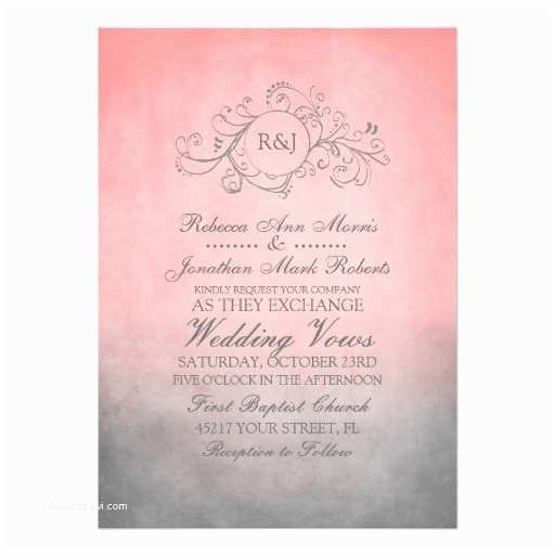 "Pink and Gray Wedding Invitations Rustic Pink and Grey Bohemian Wedding Invitation 5"" X 7"