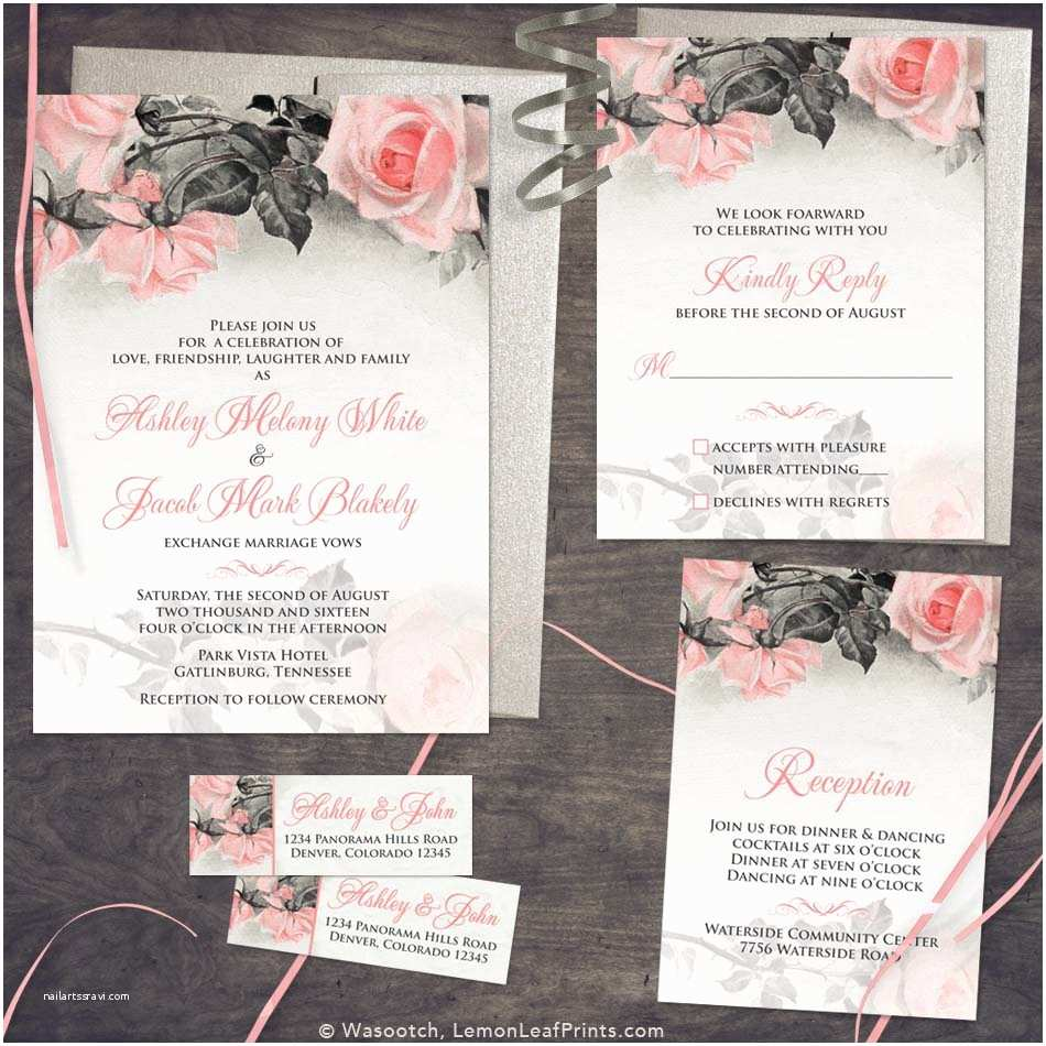 Pink and Gray Wedding Invitations Vintage Blush Pink Grey Rose Wedding Invitation Set