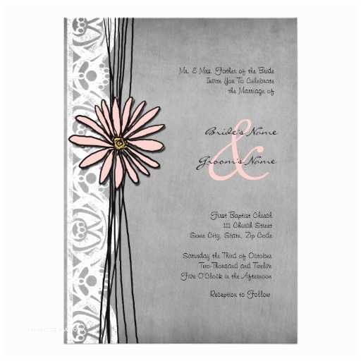 "Pink and Gray Wedding Invitations Vintage Grey and Pink Daisy Wedding Invitations 5"" X 7"
