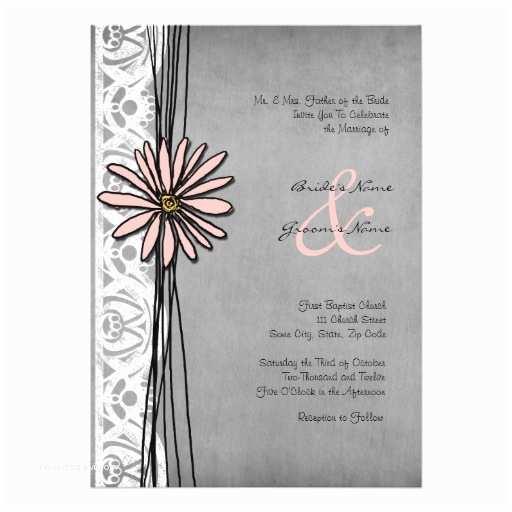 "Pink and Gray Wedding Invitations Vintage Grey and Pink Daisy Wedding Invitations 5"" X 7"