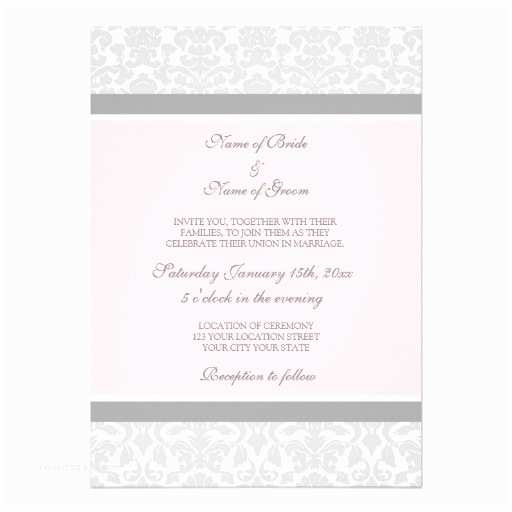 Pink and Gray Wedding Invitations Wedding Invitations Pink Grey White Damask 13 Cm X 18 Cm