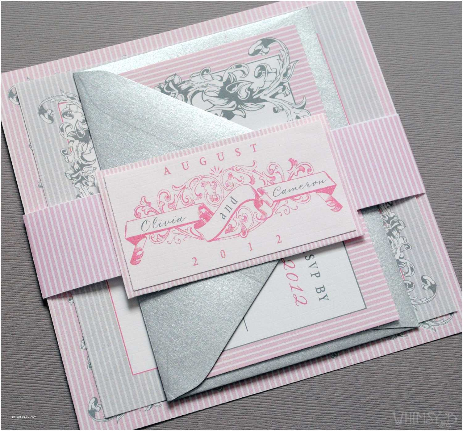 Pink And Grey Wedding Invitations 301 Moved