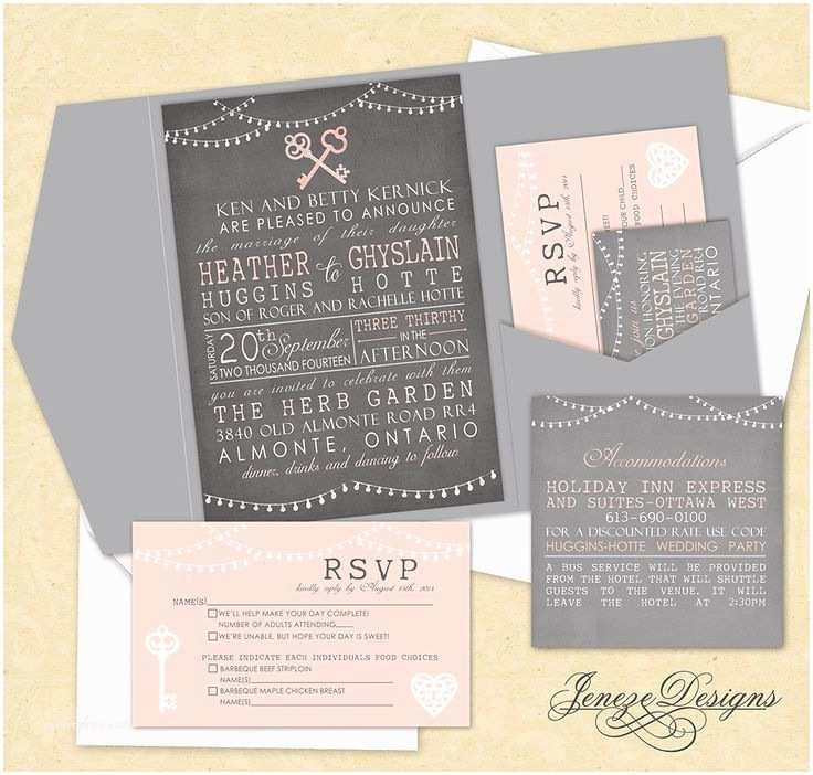 Pink And Grey Wedding Invitations Best 25 Pocket Wedding Invitations Ideas On