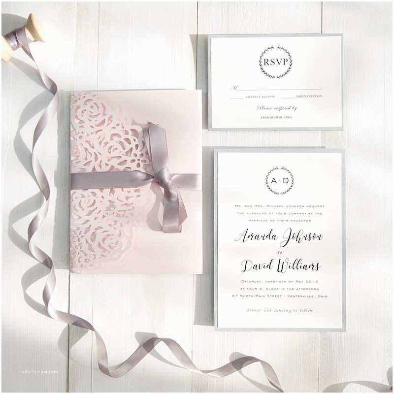 Pink and Grey Wedding Invitations Blush Pink and Gray Laser Cut Pocket Wedding Invitations