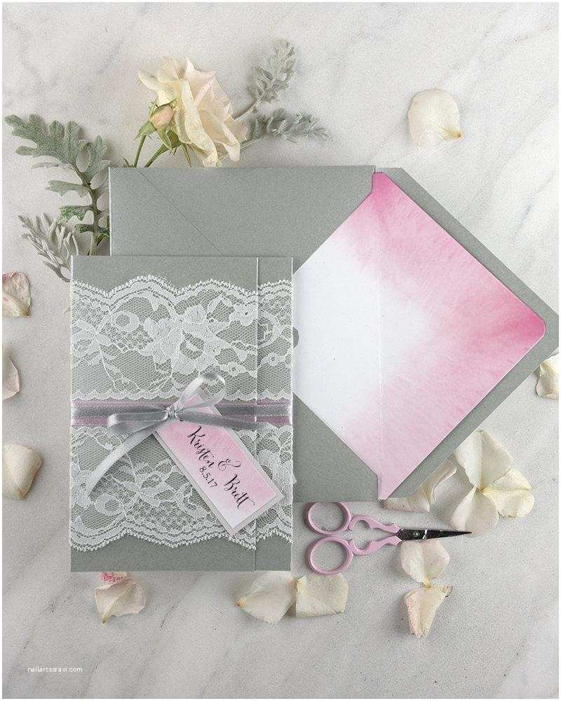 Pink And Grey  Invitations Boho  Invitations 20 Ombre Watercolor