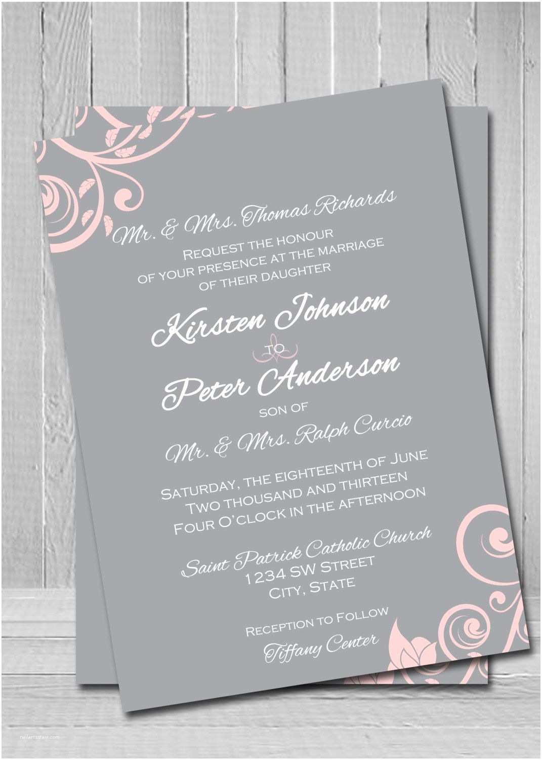 Pink and Grey Wedding Invitations Customized Wedding Invitations