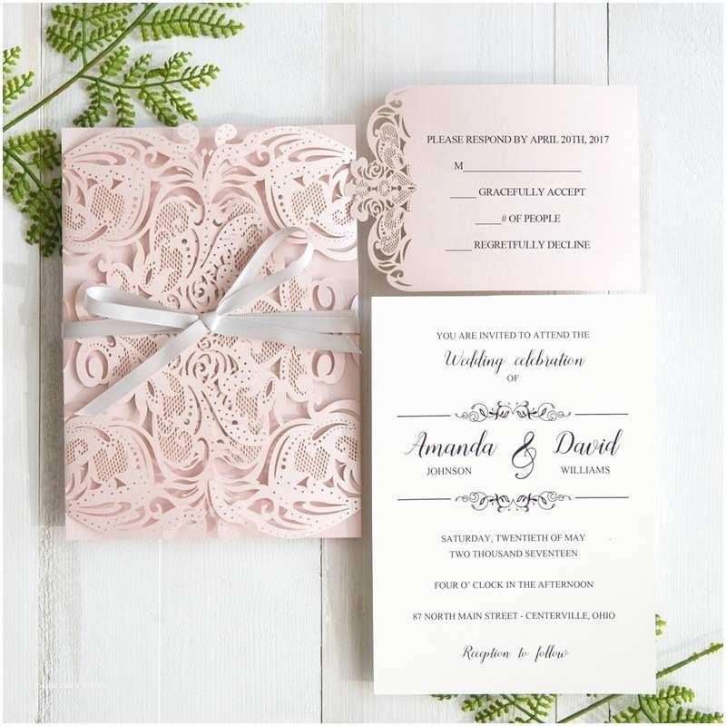Pink And Grey Wedding Invitations Elegant Blush Pink Laser Cut Wedding Invitation With