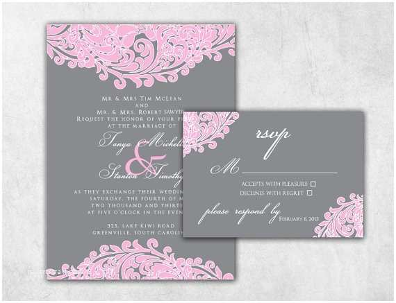 Pink and Grey Wedding Invitations formidable Pink and Grey Wedding Invitations