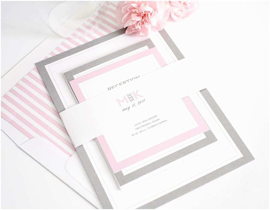 Pink And Grey Wedding Invitations Gorgeous Wedding Invitations With Pink And Gray