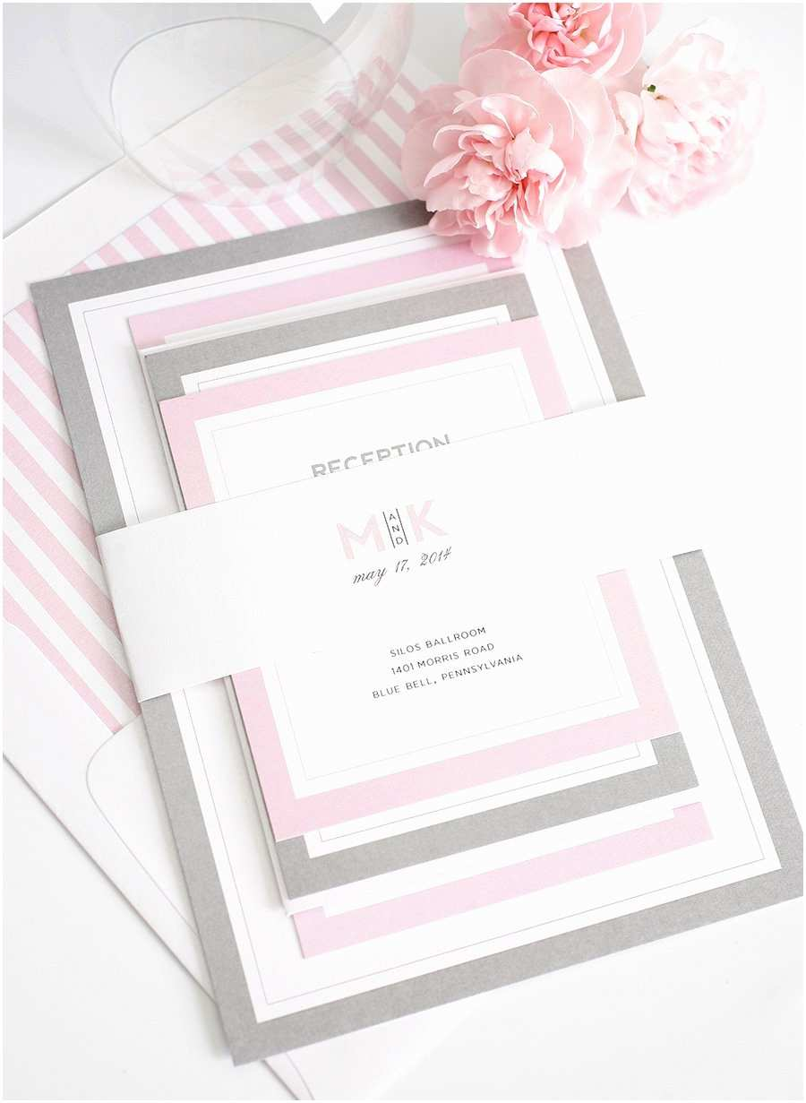 Pink and Grey Wedding Invitations Gorgeous Wedding Invitations with Pink and Gray Borders