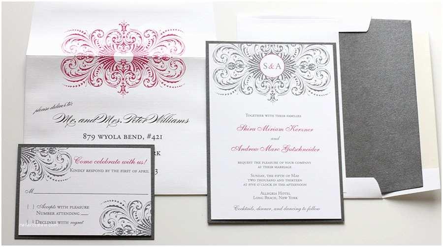 Pink and Grey Wedding Invitations Hot Pink & Gray Wedding Invitations