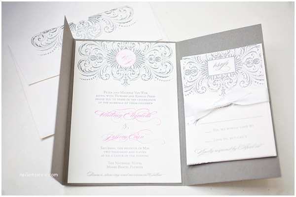 Pink And Grey Wedding Invitations