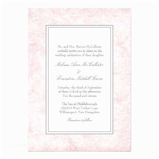 Pink and Grey Wedding Invitations Pale Pink and Gray Damask Wedding 5x7 Paper Invitation
