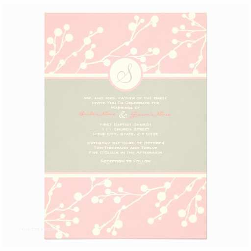 Pink and Grey Wedding Invitations Pink and Gray Floral Monogram Wedding Invitation