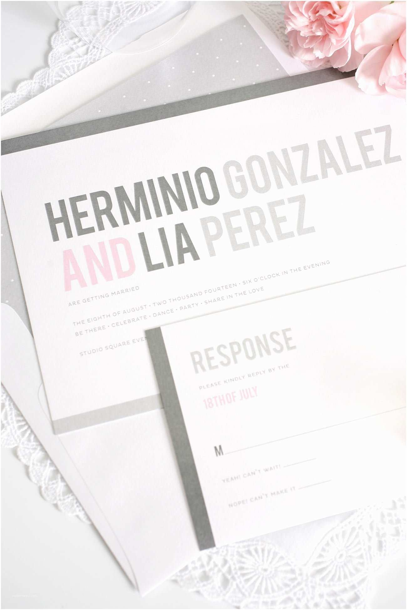 Pink and Grey Wedding Invitations Pink and Grey Modern Wedding Invitations – Wedding Invitations