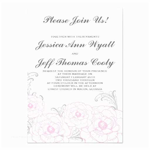 "Pink and Grey Wedding Invitations Pink and Grey Peony Flower Wedding Invitations 3 5"" X 5"