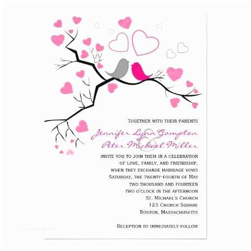 Pink And Grey Wedding Invitations Pink Grey Lovebirds & Hearts Wedding Invitation 13 Cm