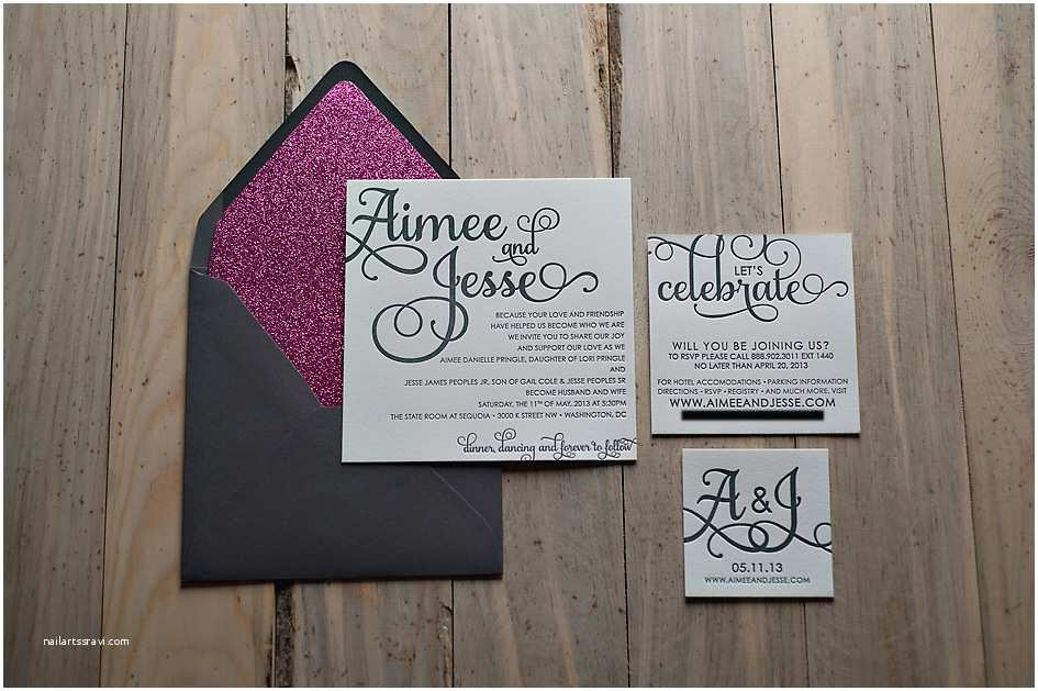 Pink and Grey Wedding Invitations Sparkly Wedding Invitations Template