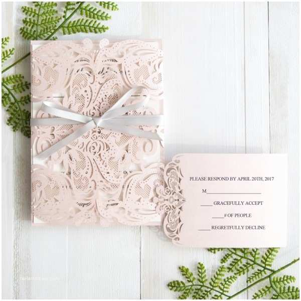 Pink and Grey Wedding Invitations Unique Laser Cut Wedding Inviations at Stylish Wedd