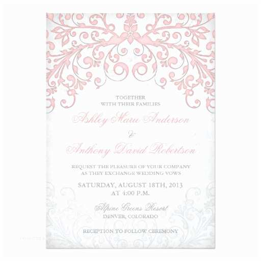 Pink and Grey Wedding Invitations Vintage Blush Pink Grey Floral Wedding Invitation