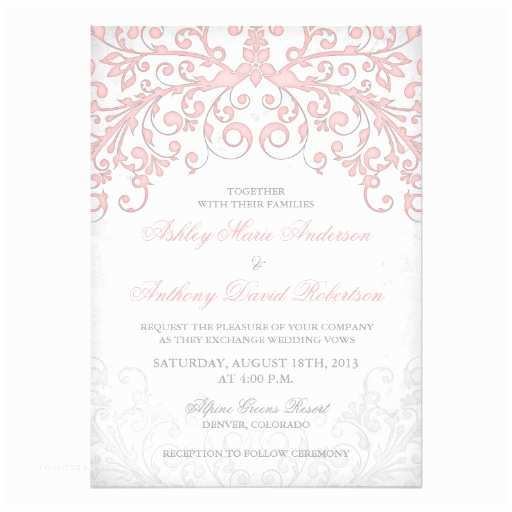 Pink and Grey Wedding Invitations Vintage Blush Pink Grey Floral Wedding Invitation