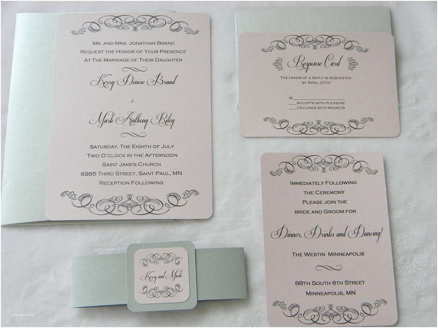 Pink and Grey Wedding Invitations Vintage Design Wedding Invitation Suite Pink and Grey