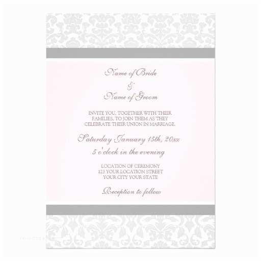 "Pink and Grey Wedding Invitations Wedding Invitations Pink Gray White Damask 5"" X 7"