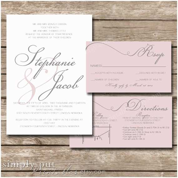 Pink And Grey Wedding Invitations White Blush Pink Gray Wedding Invitation