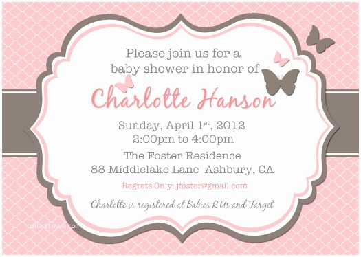 Pink Baby Shower Invitations Baby Shower Invitations Cute butterfly Baby Shower