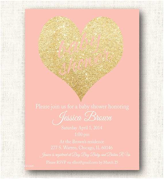 Pink Baby Shower Invitations Gold and Pink Baby Shower Invitations
