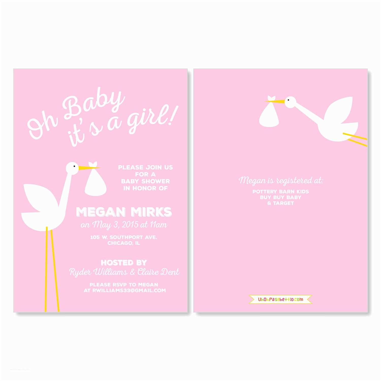 Pink Baby Shower Invitations It S A Stork Uh Oh Pasghettio