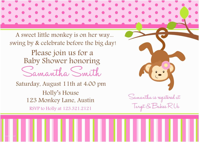 Pink Baby Shower Invitations Monkey Baby Shower Invitation Ideas