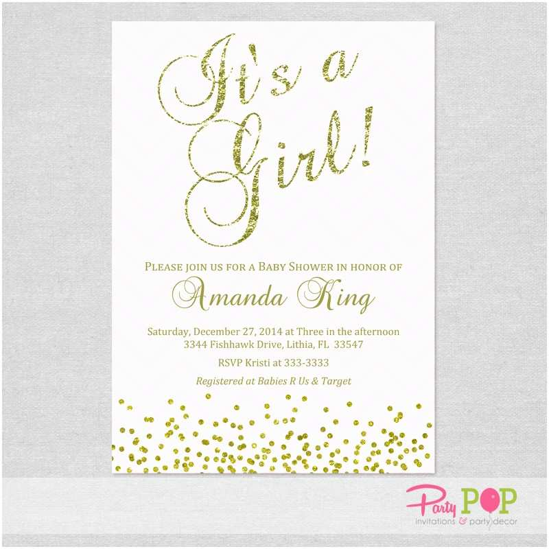 Pink Baby Shower Invitations Pink and Gold Baby Shower Invitations