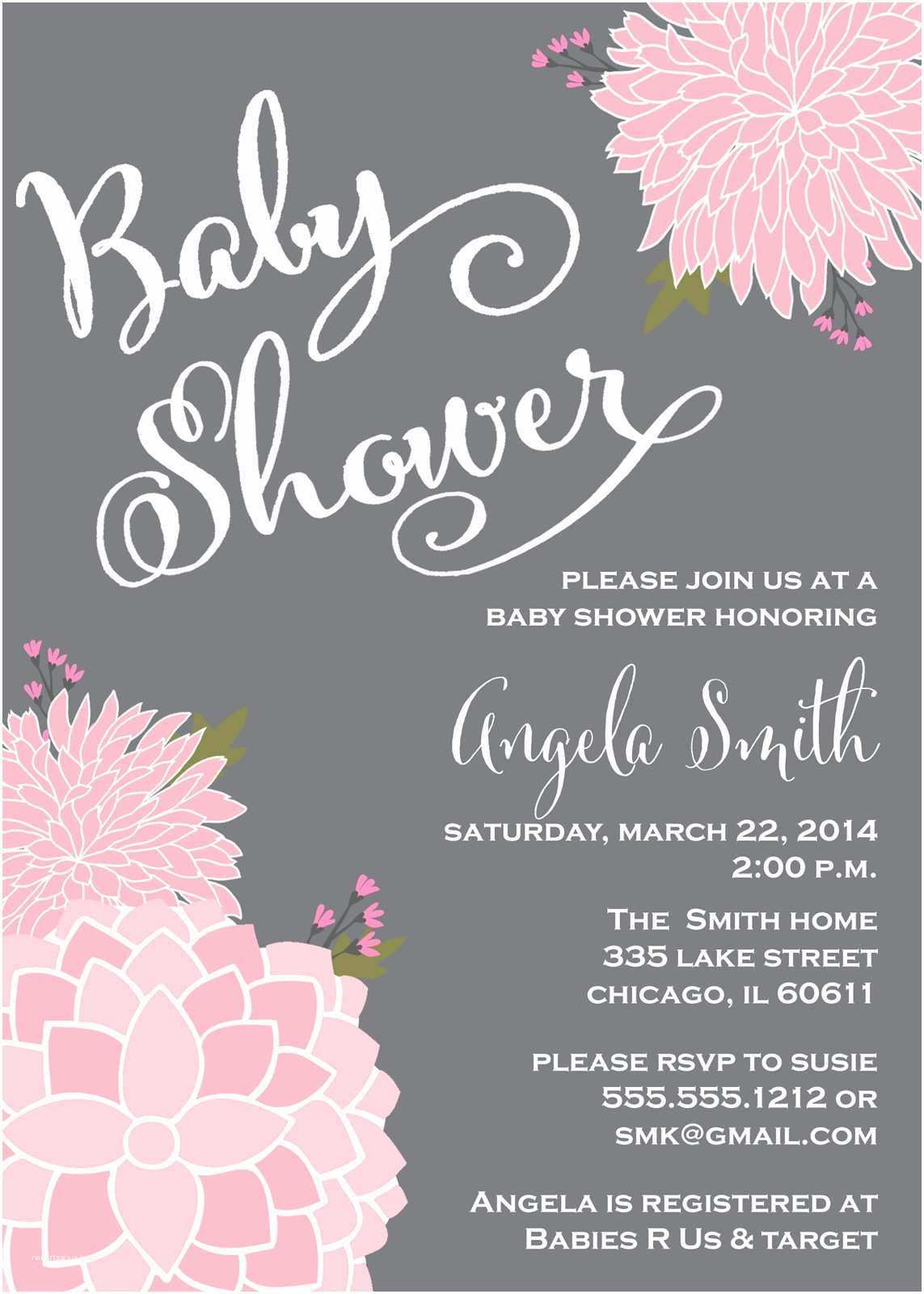 Pink Baby Shower Invitations Pink and Grey Baby Shower Invitations